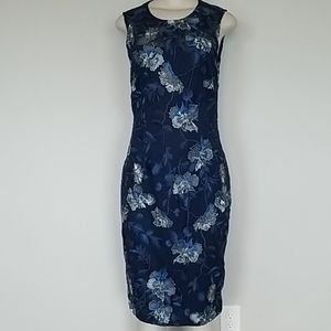 WHBM navy blue embroidered mesh floral dress-8